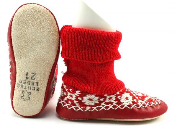Gebreide pantoffels - Rood